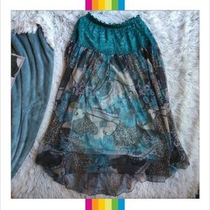 Blue Boho Festival Concert Queen Long Skirt XS